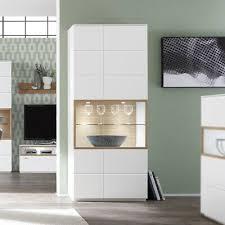 vitrine standvitrine schrank wohnzimmer weiß lack und