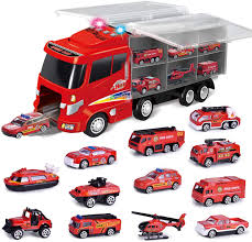 100 Fire Trucks Toys FUN LITTLE TOYS 12 In 1 Diecast Truck Toy Truck For Kids Engine Vehicle In Carrier Truck