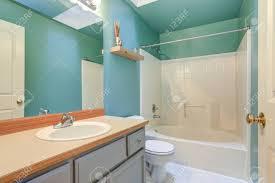 hellgrün blaues badezimmer interieur mit hellgrauem waschtisch und weißer badewannen und duschkombination beleuchtet durch oberlicht an der decke