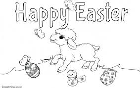 Printable Happy Easter Lamb Coloring Pages