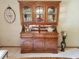 solid oak china cabinet hutch lighted mirrors glass shelves buffet