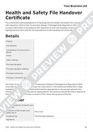 Health And Safety File Handover Certificate CDM Template