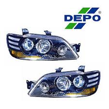 02 03 mitsubishi lancer black projector housing halogen headlight