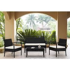 Ebay Patio Table Cover by Amazon Com Rattan Wicker Patio Sofa Dining Table Set 4 Piece