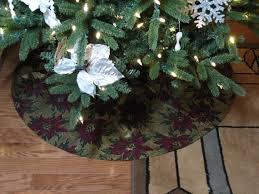 Gold Tree Skirt Poinsettia Christmas Decor