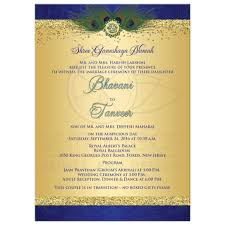 Indian Wedding Invitation In Royal Blue And Gold Glitter Peacock Feathers Hindu God