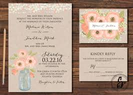 Rustic Wedding Invitation Printable Spring Mason Jar Country