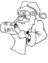 Santa Claus Is Reading A Gift List For Christmas Coloring Pages