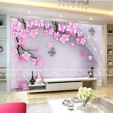 cherry blossom and butterfly wall mural wall stickers large view