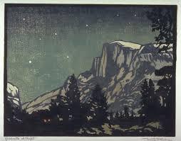 Yosemite At Night William Seltzer Rice Ca Color Woodcut 7 X FAMSF