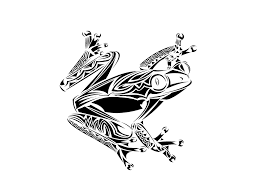 Awesome Black Tribal Frog Tattoo Design