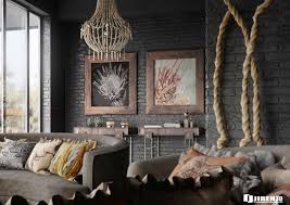Interior Dazzling African Themes Bedroom Ideas With Black Exposed Brick Wall And Rustic Chandelier Combine Grey Fabric Sofa Wooden Frame