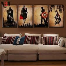 4 pieces superhero hand painted canvas oil paintings modern