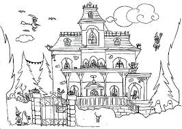 Spooky House Coloring Pages Haunted And Satanic Cat Page Scary