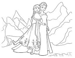 Walt Disney Queen Elsa And Princess Anna Colouring Page