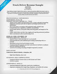 Truck Driver Resume Sample Panion