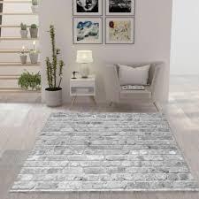 moderner teppich wohnzimmer stein optik mauer muster