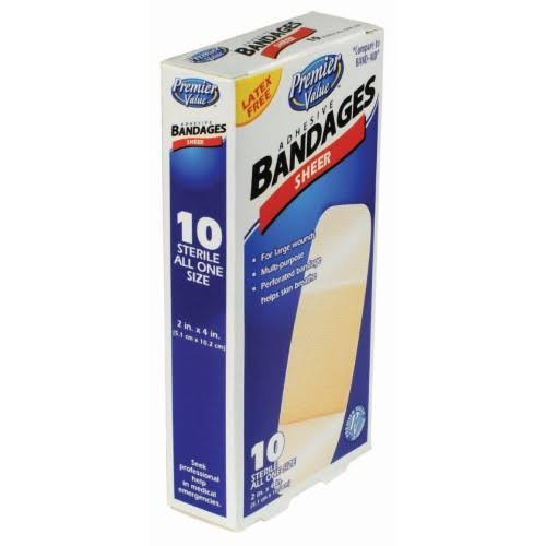 "Premier Value Sheer Plastic Bandage - 10ct, 2"" x 4"""