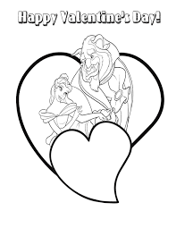 Beauty And The Beast Valentine Heart Coloring Page