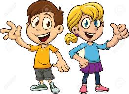 Cartoon boy and girl waving Vector clip art illustration with simple gra nts Each on