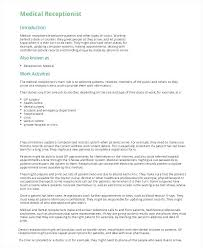 Spa Receptionist Resume Sample For Medical Template 5 Free Example