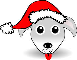 Palomaironique Dog Face Cartoon Grey With Santa Hat Black White Line Art Scalable Vector Graphics SVG Clip Coloring Book Colouring