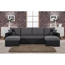 canape angle en u orlando u canapé d angle convertible panoramique noir et gris