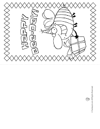 Birthday Card Coloring Pages Happy Bee Day Page Fantasy Jr