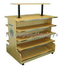 4 Tier Wooden Retail Display Shelves Store Fixtures Visual Merchandise