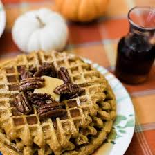 Pumpkin Spice Waffles With Pecans