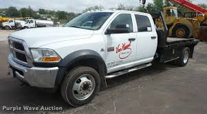100 Heavy Duty Truck Auction 2011 Dodge Ram 4500 Crew Cab Flatbed Truck Item DA8079 S