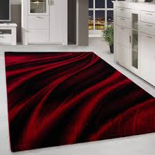kurzflor design teppich schatten muster wohnzimmerteppich rot schwarz meliert grösse 200x290 cm