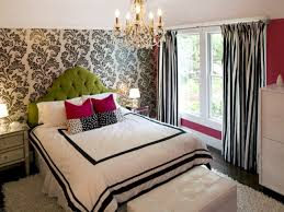 Kids Bedroom Ideas For Teenage Girls Come With Black And White Vintage Pattern Wallpaper