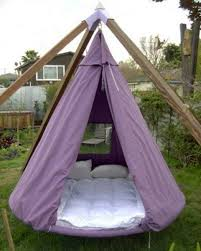 outdoor hanging bed swing canopy bed wooden frame metal chains