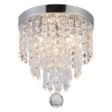 Riomasee Crystal Ceiling Light Mini Chandelier Elegant Design Modern Chandeliers 3Light Flush Mount Fixtures For BedroomHallwayLiving