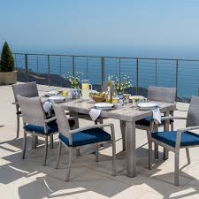 Kirkland Patio Furniture Covers by Portofino 7 Piece Dining Set In Laguna Blue