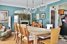 View In Gallery Eclectic Dining Room With A Breezy Combination Of Caribbean Teal And White