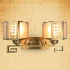 2 light bronze funky style mission traditional bathroom wall sconces