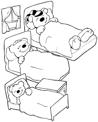 Goldilocks Coloring Page Of The Three Bears In Their Beds