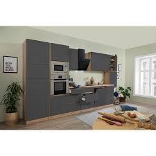 respekta premium küchenzeile grifflos 395 cm grau hochglanz eiche sägerau