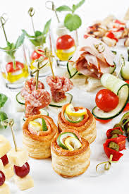m canapé up view set of canapes with vegetables salami seafood m