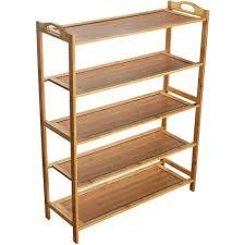 hengda 5 böden holzregal 92 87 26cm standregal aus bambus lagerregal badezimmerregal für bad küche flur sauna aufbewahrung küchenregal