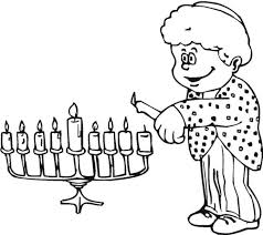 Herry Candles Lit Fot Hanukkah Coloring Picture For Kids