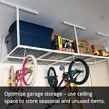 Hyloft Ceiling Storage Unit 30 Cubic Feet by Fleximounts 4x8 Overhead Garage Storage Rack Adjustable Ceiling