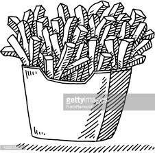 french fries fast food drawing vector id