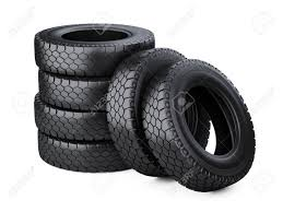100 At Truck Tires Set Of Six Big Vehicle Stacked 3d Illustration Over