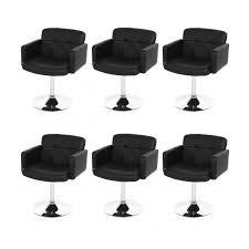 chaise fauteuil salle manger lot de 6 fauteuils chaises de salle manger simili cuir noir dans