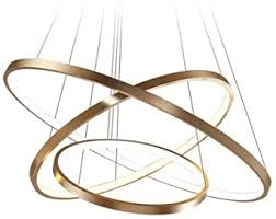 114w led dimmbar pendelleuchte 3 ring gold aluminium acryl kronleuchter höhenverstellbar rund hängeleuchte galerie wendeltreppe deckenle esszimmer