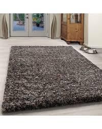 wohnzimmer shaggy teppich hochwertig hochflor taupe creme beige farbe taupe größe 60x110 cm