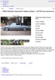 Would You Consider $3,750 For This 1984 Chrysler Executive Sedan To ... 20 Inspirational Images Craigslist Cars Houston Tx New And Mesmerizing Pnw Along With Freebie Or Thread To Beauteous Ethan Hoenig On Twitter 2 Is Gone Baltimore Best Car 2017 Would You Consider 3750 For This 1984 Chrysler Executive Sedan Used Tallahassee 1920 Release Date Los Angeles Trucks By Owner Amp On Greenville South Carolinacheap Lovely Md Search Results Sale Janda Baltimores Fatberg To Be Sucked Out Of Sewers Youtube Twenty